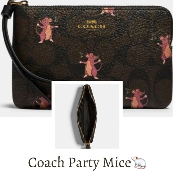Coach Corner Zip Wristlet With Party Mouse Print